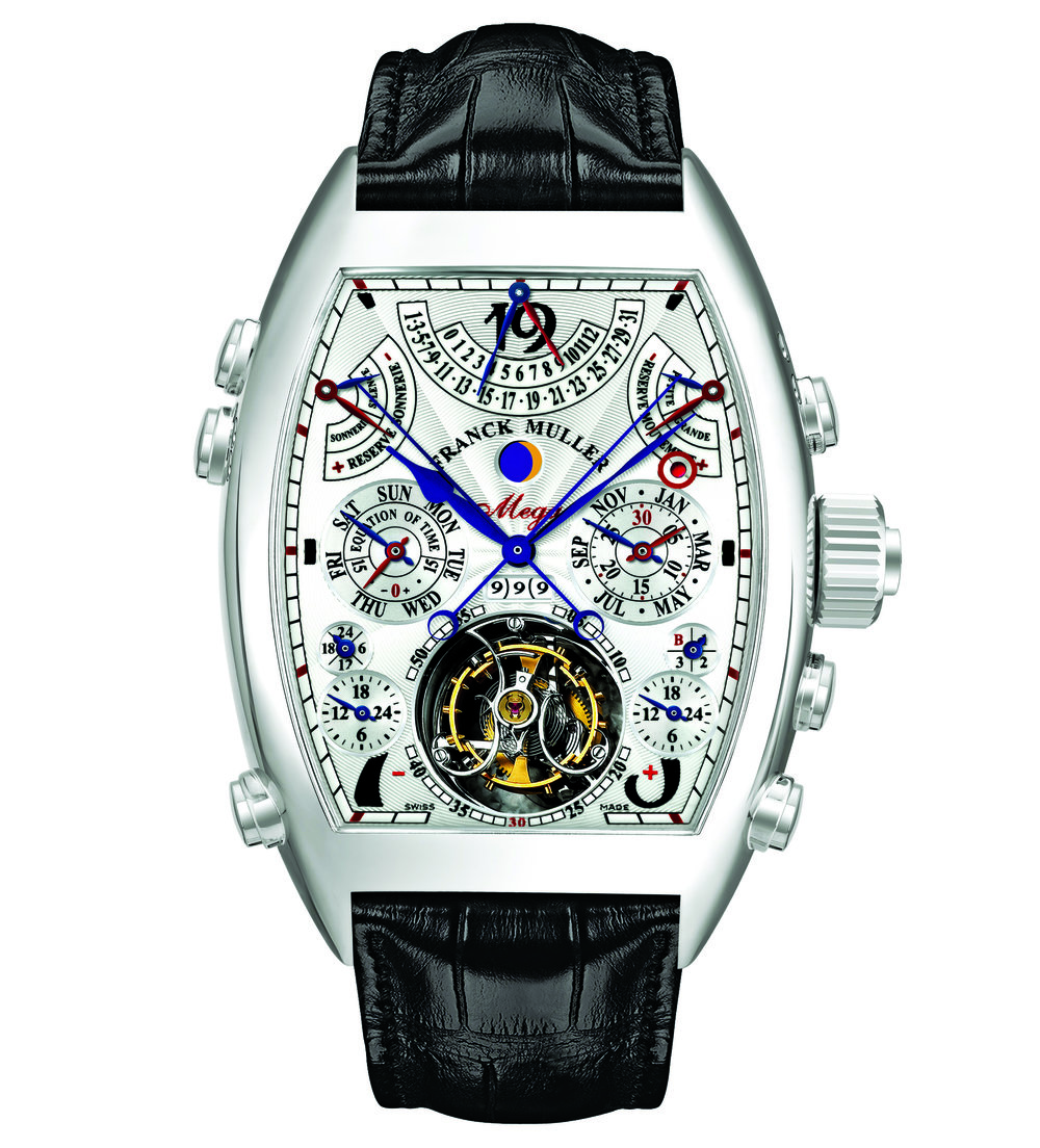 "Franck Muller The Aeternitas Mega  Franck Muller's Aeternitas Mega is the one of the most elaborate watches in the world, thanks to its 36 complications, 1,483 components, and 1,000-year calendar. Fully produced in-house, the watch is reminiscent of the old ""cadraturiers"" in Vallée de Joux, Switzerland. The timepiece incorporates a mechanical tourbillon, a chronograph with a flyback mechanism, and a leap year indicator. A symbol for the complex art of watchmaking, the Aeternitas Mega comes with a price tag of 2.7 million Swiss Francs. Calibre: FM 3480 QPSE Case: 42 mm x 61 mm Price: 2,700,000 CHF"