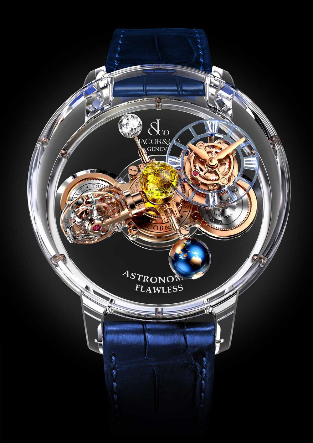 Jacob & Co. Astronomia   Celestially inspired, Jacob & Co.'s Astronomia features a triple-axis tourbillon, faceted spherical diamond, and magnesium-lacquered globe. The non-diamond model is obtainable at $566,350, while the diamond version is available for $1,004,800. Astronomia combines the expertise of Swiss craftsmanship with an artist's deft touch to create a truly spectacular timepiece. Case: 50 mm Calibre: Exclusive Jacob & Co. Manual Winding JCAM10 Non-diamond price: $566,350 Diamond price: $1,004,800