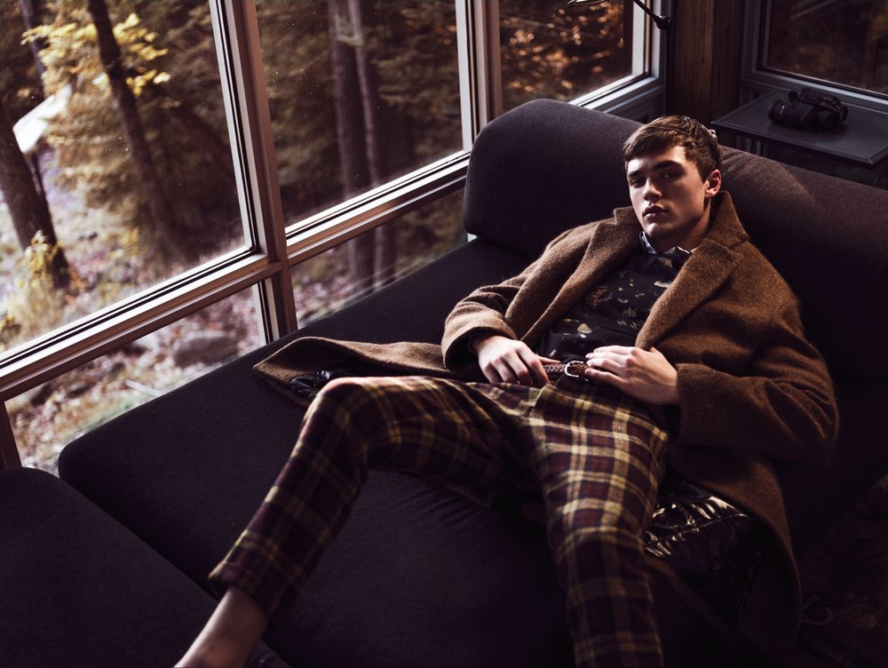 Coat DRIES VAN NOTEN at HOLT RENFREW ($2,520). Sweater STRELLSON ($198). Shirt PRADA ($850). Belt ANDERSON'S ($165). Pants MARNI at HOLT RENFREW ($1,420). Shoes GUCCI ($810).