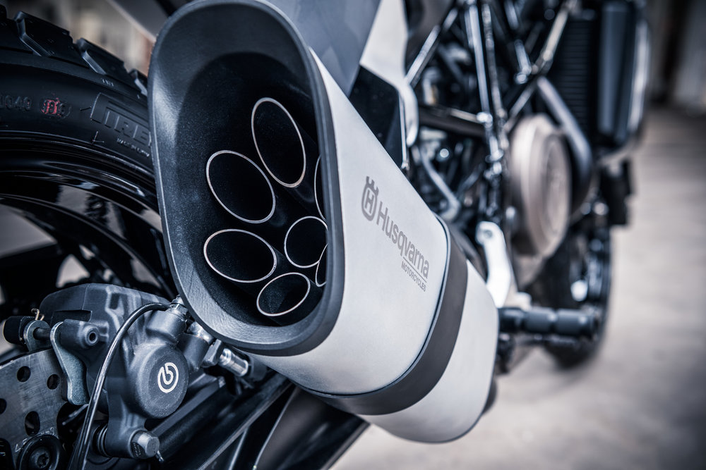 Svartpilen exhaust photograph via Husqvarna Motorcycles