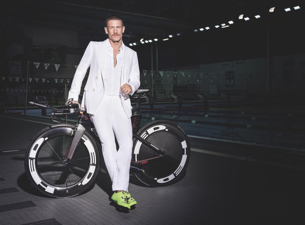 Suit ($1,195) and Shirt ($225) BOSS. Eyewear ($550) ROBERT MARC at JOSEPHSON OPTICIANS. Bike & Shoes LIONEL'S OWN.