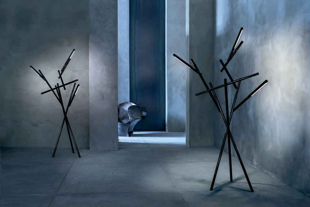 TUAREG  Light set: Foscarini white ($6,714), Arancio ($6,714), or Cromo nero ($7,812) at AVANT-SCÈNE.