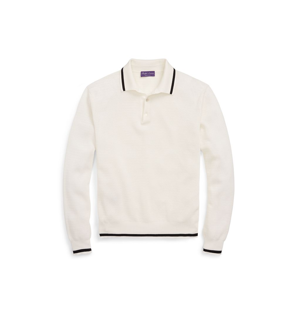 RALPHLAUREN  - Cotton Mesh Polo Sweater in Cream with Black ($795 USD)