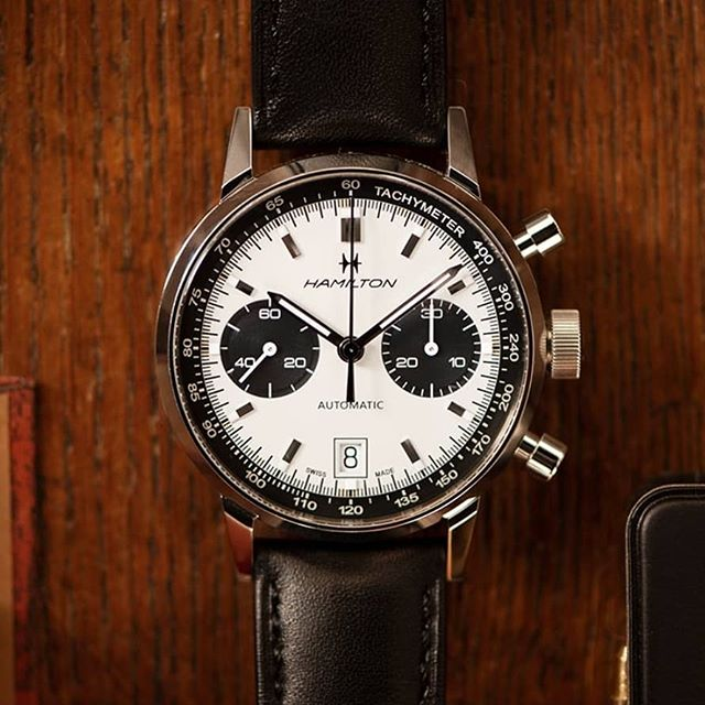 Love the new Hamilton Chronograph with the retro 60s look... The Hamilton Intra-Matic Auto Chrono is a modern reworking of a 1968 signature piece that offers a sporty but classic look. Combining authentic 60s appeal  #hamilton #waches #hamiltonwatches #60s #stylish #chronograph #dtkmen