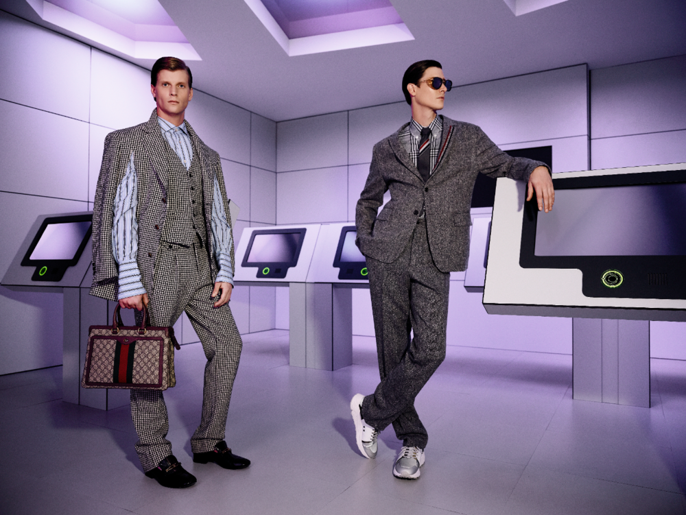 On Patrick (Left):    Jacket ($3,540), Vest ($1,165), Shirt ($835), Pants ($1,485), Shoes ($1,170), and Bag ($2,960) GUCCI.    On Marc-André (Right):    Jacket ($2,010), Pants ($1,320), Shirt ($740), and Tie ($260) THOM BROWNE at HOLT RENFREW. Eyewear ($1,250) THOM BROWNE at JOSEPHSON OPTICIANS. Horizon Running Neon Sneakers ($350) HUGO.