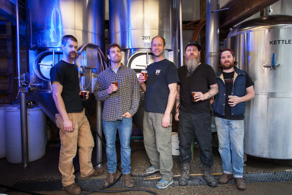 Jared Maruhnic, Alex Lee, David Carlson Owner, Davey Blackman and Glen Dalrymple Brew Crew at Marshall Wharf Brewing Co. Belfast, ME Established in 2007