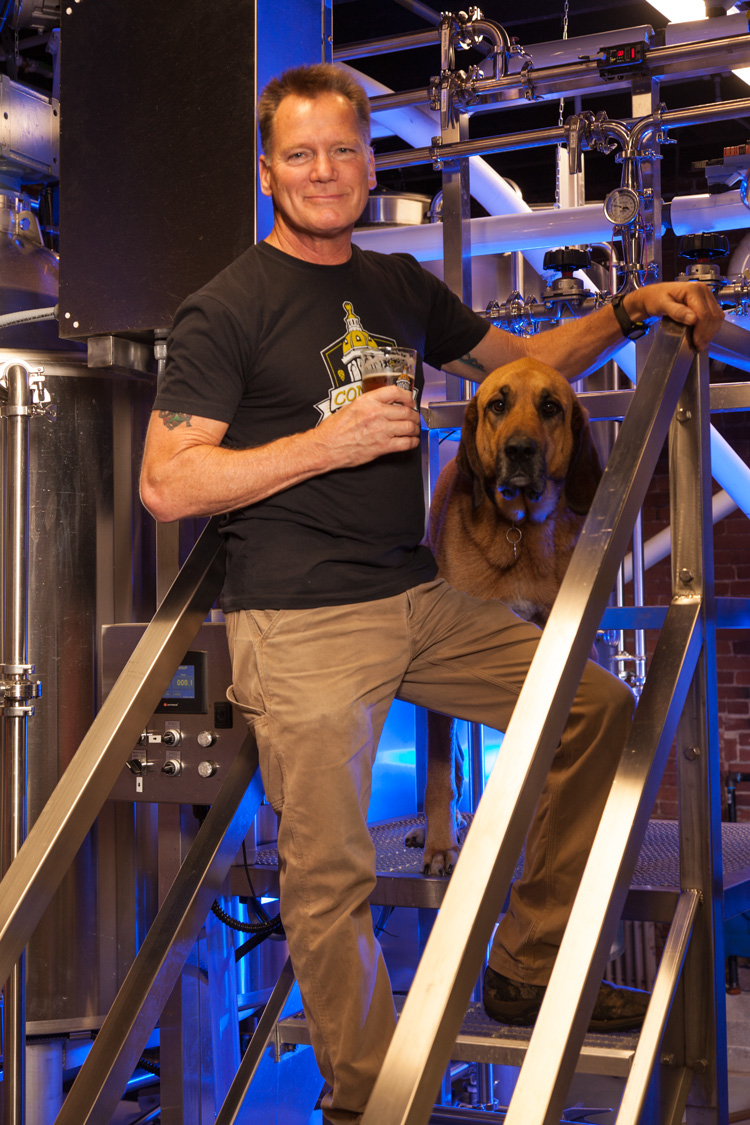 Doug Bogle, Head Brewer And Brew Dog Annie at Concord Craft Brewing Co. Concord, NH Est. 2017