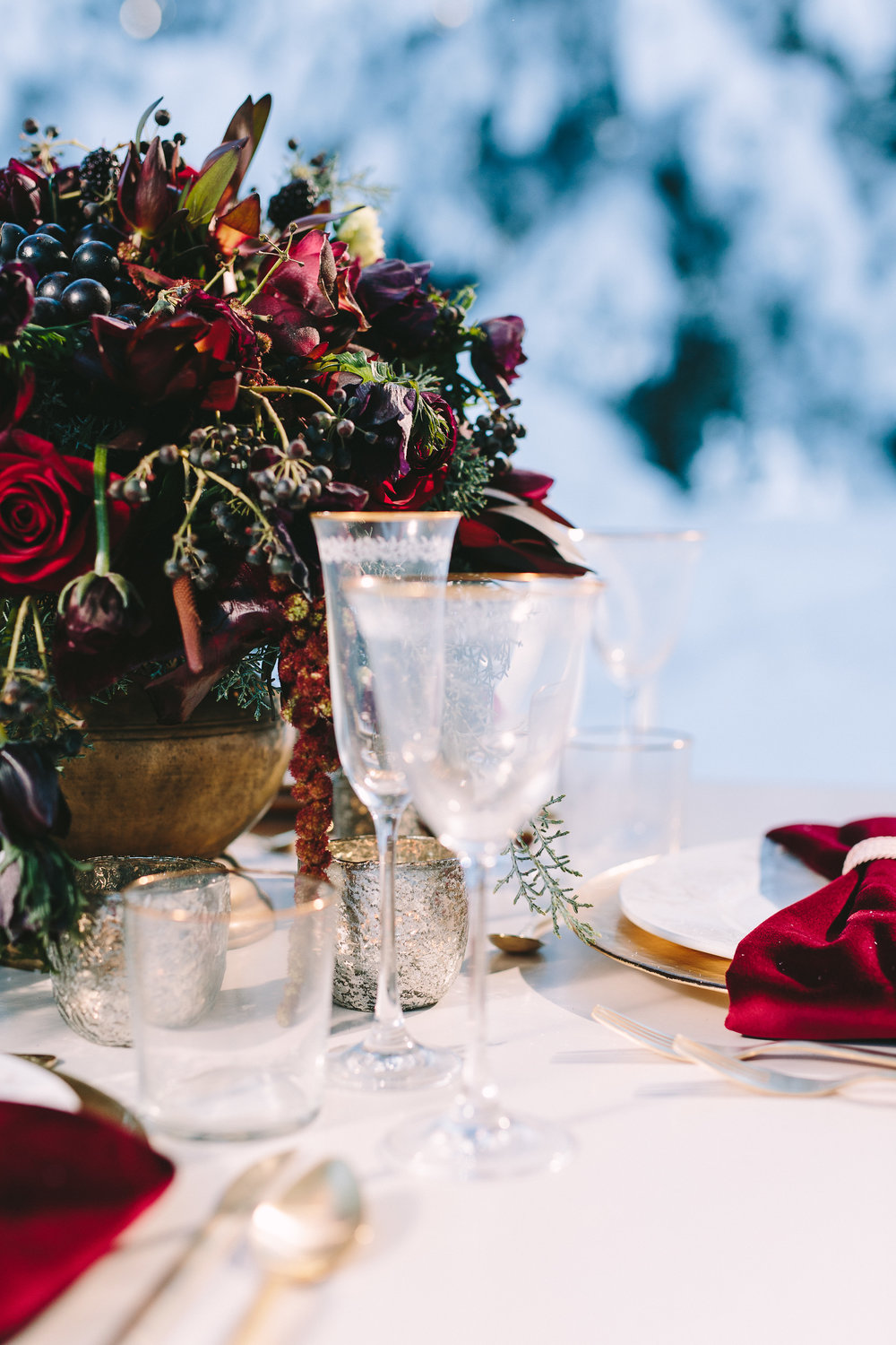 styled-shoot-winter-elatos-resort-greece-destination-wedding-table-luxury-chic-burgundy-white-gold-dinner-cutlery-