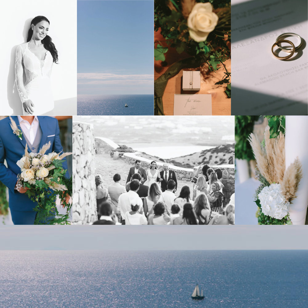 mykonos-island-greece-wedding-ceremony-blue-white-flower-bouquet-brede-and-groom-wedding-invitation-stationery-favors