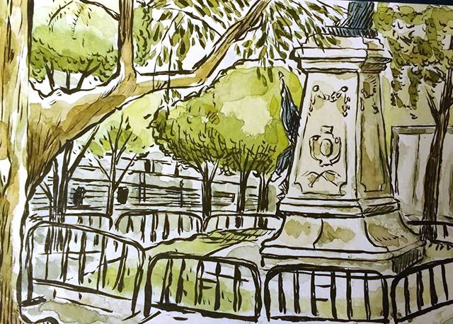 It's been raining in DC for the last...forever. Here's a sketch from a earlier and more sunny time. Practicing sketching directly with a brushpen.  #brushpen #urbansketch #watercolor