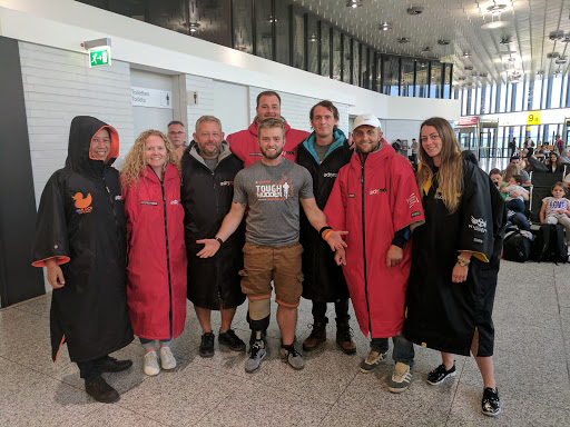 At the airport in Germany, returning from my 10th Tough Mudder
