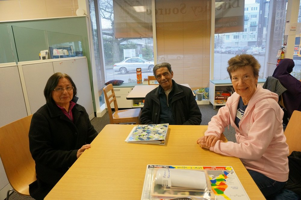 Rafael with his partner Estela (left) and their tutor, Teresa