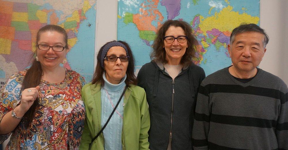 Left to right: Ewa Krawcyk (ESOL 2/3 teacher), Maria (student), Cynthia Putnam, and Wei (student)