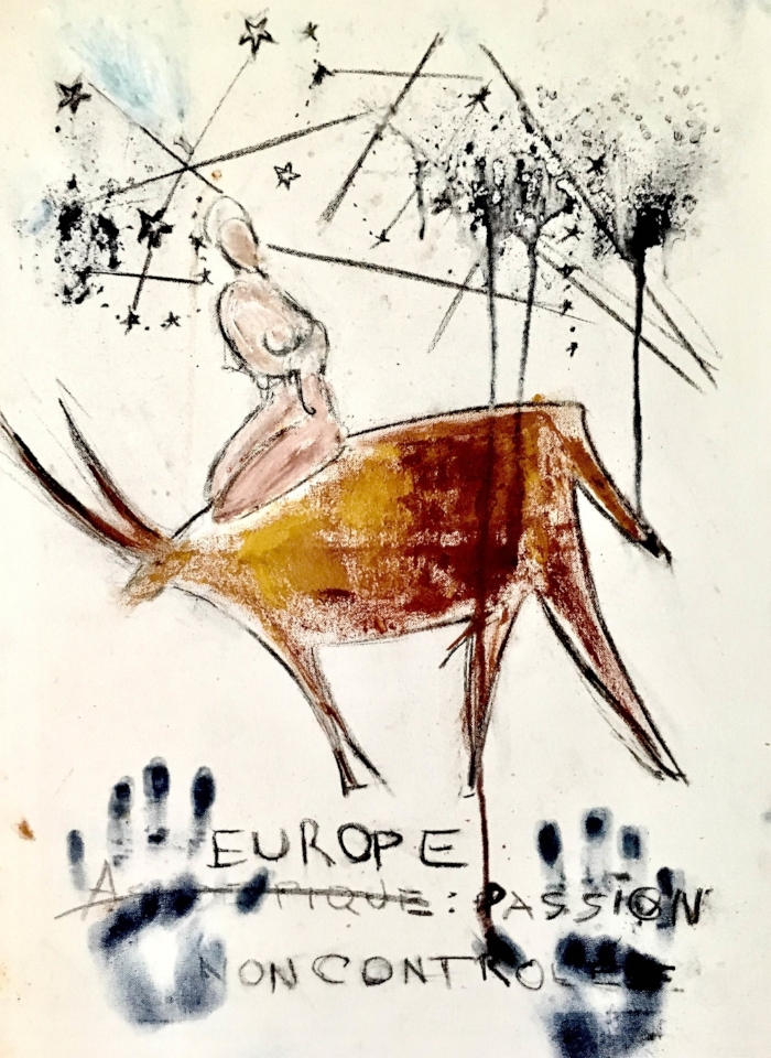 Europe - Uncontrolled Passion, 60 x 75, charcoal, real pigments on canvas, Paris 2017