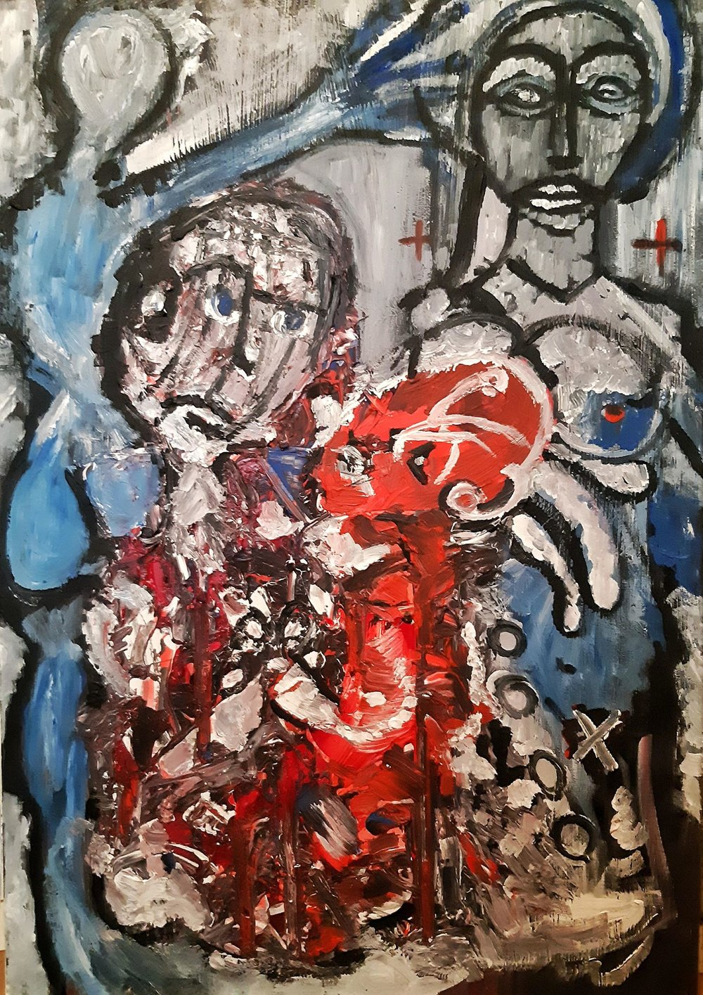 The Devil his Father and the Nuns, 81 x 116 cm, acrylic on canvas, Paris 2016