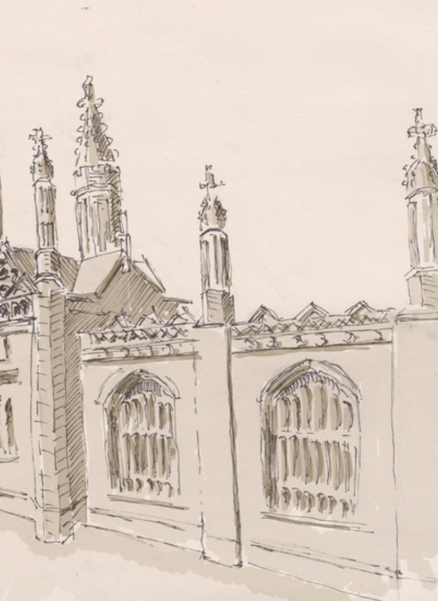 Extract from a pen and ink drawing of Kings College