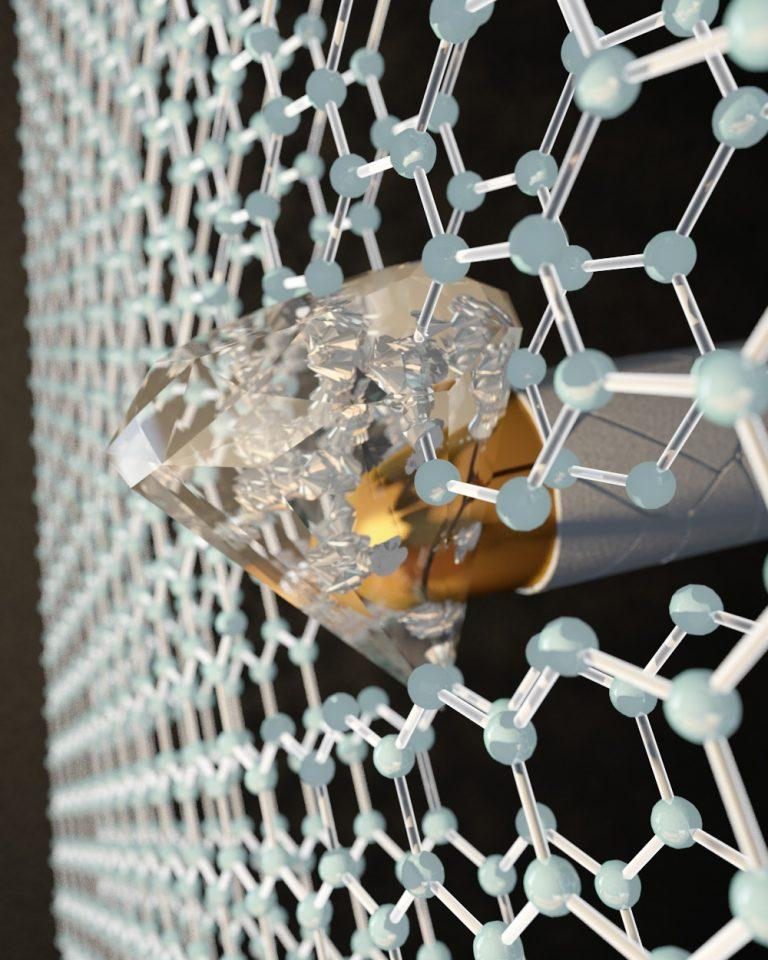 By applying pressure at the nanoscale with an indenter to two layers of graphene, each one-atom thick, CUNY researchers transformed the honeycombed graphene into a diamond-like material at room temperature. Image: Ella Maru Studio