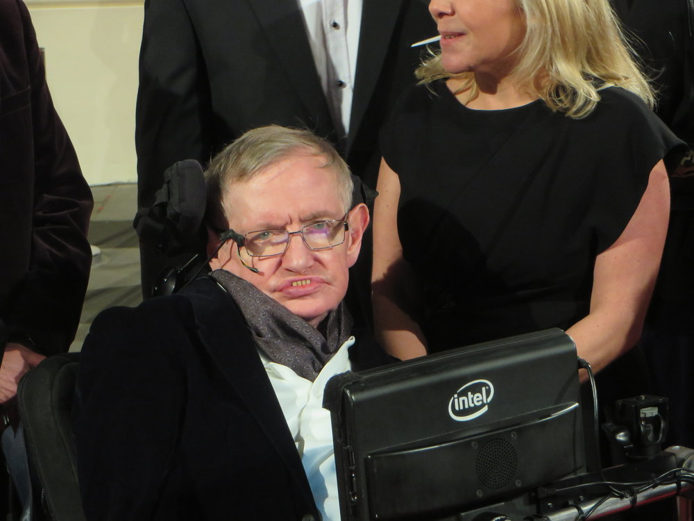 February 2015, Professor Stephen Hawking arrives at the 2015 BAFTA film awards ceremony in London.