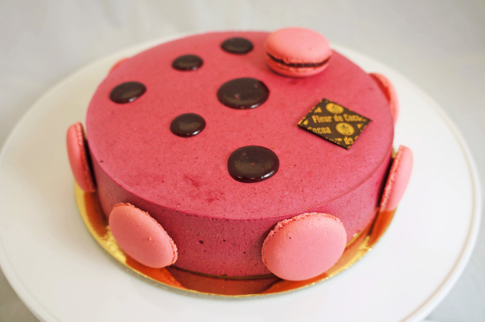 Emmeline Raspberry mousse, ladyfinger sponge cake, and lemon cream. Gluten-free.