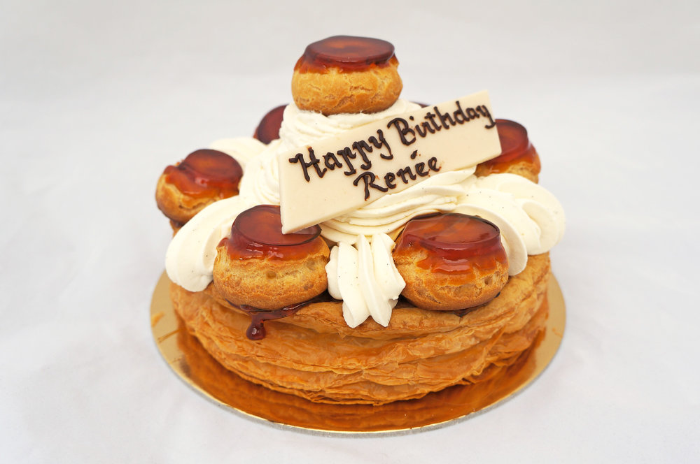 St. Honore   Puff pastry, vanilla bean Chantilly cream, vanilla pastry cream, and caramelized cream puffs (special order).