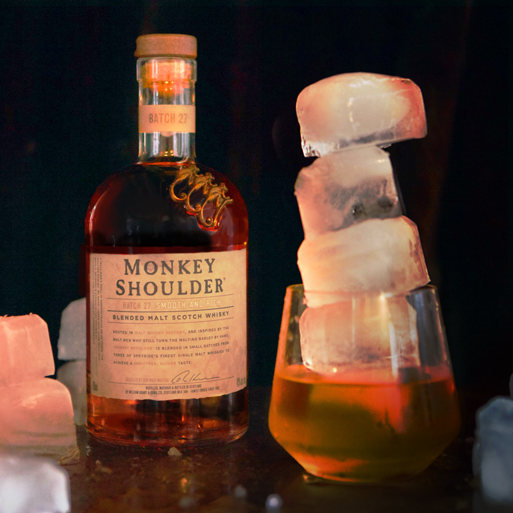 Here's how to show up to your next cocktail party with some stones: Pour 2 parts Monkey Shoulder over ice, ice and some more ice. And then remember to sip responsibly.  #LeaningTowerOfFreeza   #ItsEvolutionary