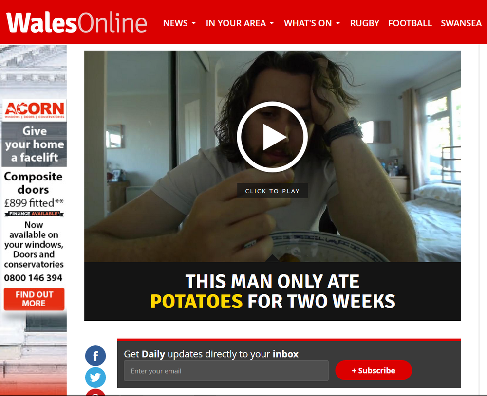 Matt Nomme Wales online Potato Diet
