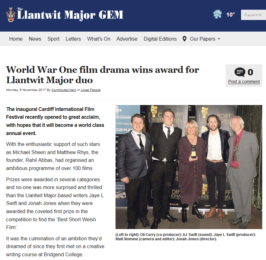 Letters Home wins award for Llantwit Major duo