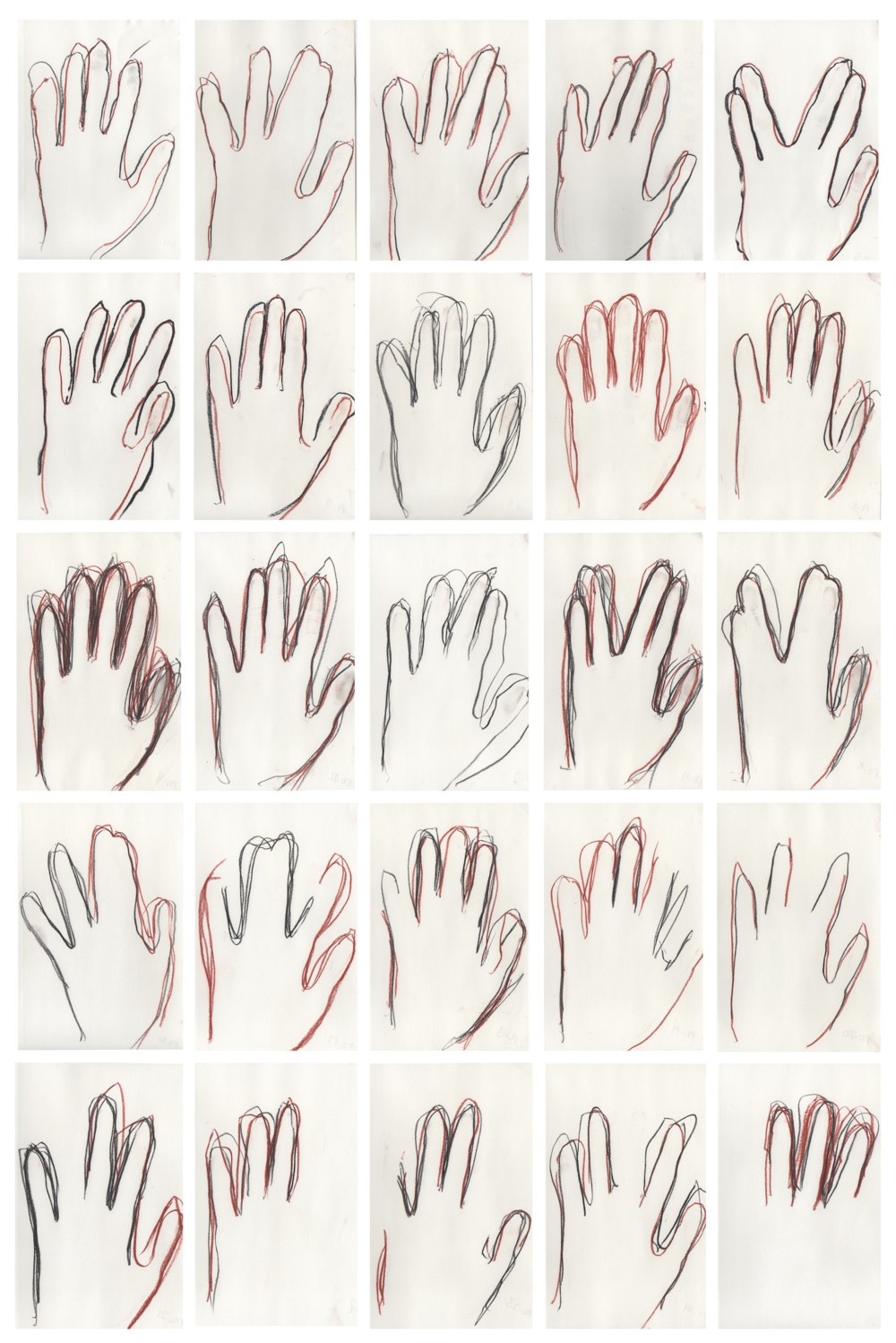 """A series of twenty-five line drawings tracing the hand. A study of the renewed romance we associate with """"the hand"""" in the face of automation and modern craft. A study of the utilitarian folklore of """"the hand"""" as the key to survival. A study of the importance of """"the hand"""" to the human laborer. In the beginning of the series, the drawings are """"celebrating"""" the wholeness of the hand. As the series progresses, the drawings get more complicated, the hand takes different configurations, and pieces of the hand disappear. In addition to exploring the future utilitarian importance of our hands, this series hopes to invoke a conversation about individuals with missing fingers and hands or lost of dexterity due to work related injuries. How does disability impact an individuals' employment status? If drawing no. 1 is most important and drawing no. 25 is least important, this series features the hand as an omnipotent symbol of autonomy and worker pride while examining the forgotten stories of the hand as a casualty of work."""