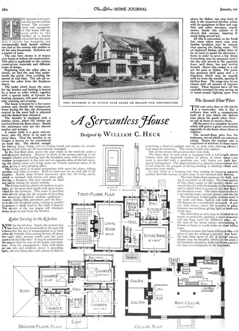 """A Servantless House"" by William C. Heck for the Ladies Home Journal in 1922."