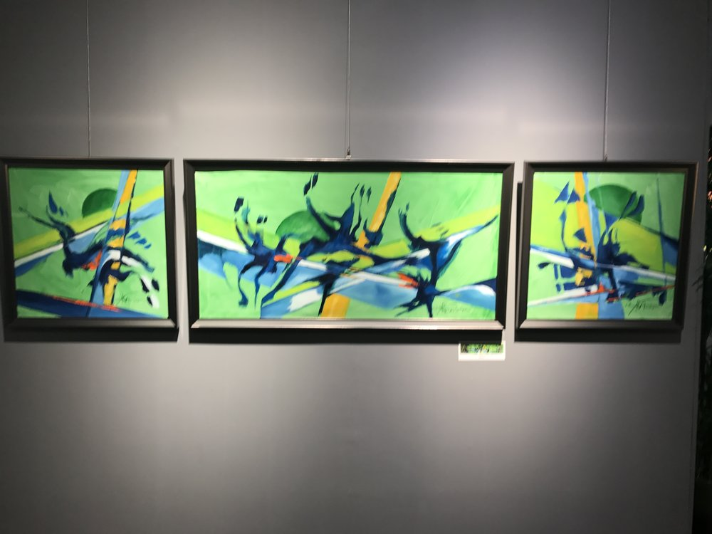 Abstract triptych that I loved. I'd buy this if I could afford it/had space for it.