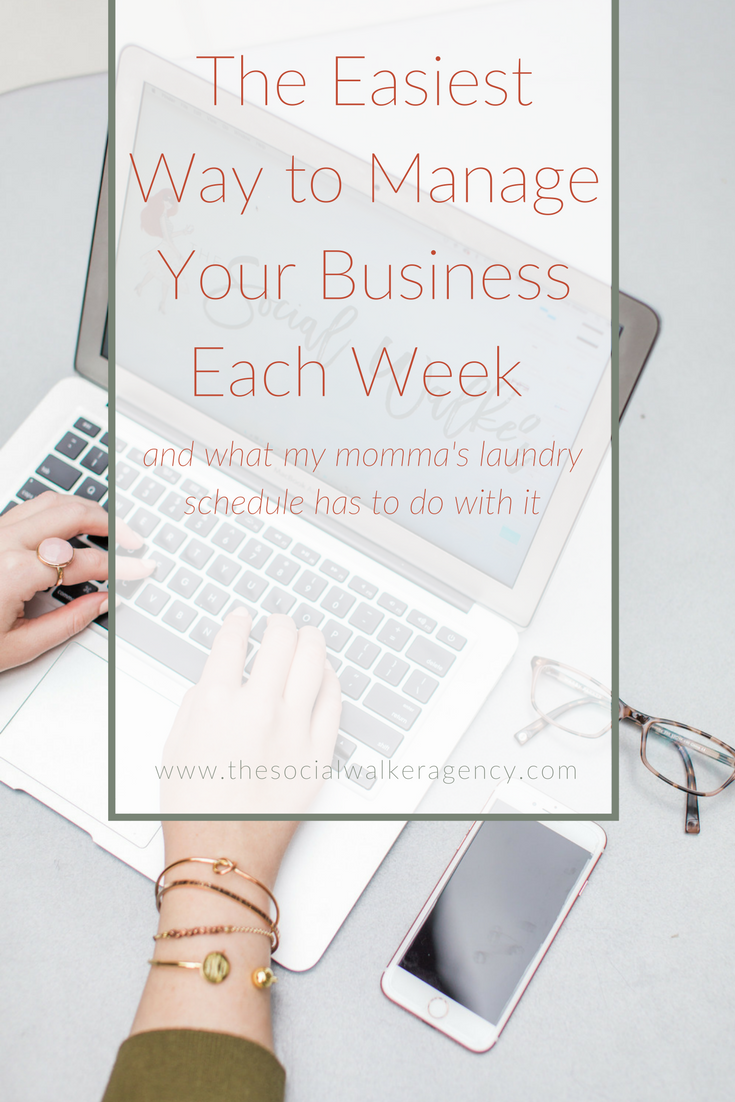 Today's post is all about how I'm implementing my Momma's laundry schedule into my business. Seems a bit odd, right? Well, my Momma was the queen of organization - with 4 kids 3 and under, she had to put systems into place in order not to go crazy. Her laundry system is just one of the many that we implemented to relieve the stress and overwhelm in our busy household. I want to share it with you so you can do the same in your business!  |  The Social Walker Agency
