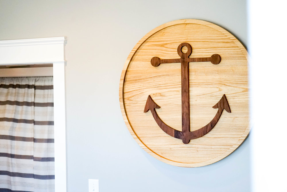 Anchor Investments Sign - This custom sign is made out of ash and walnut
