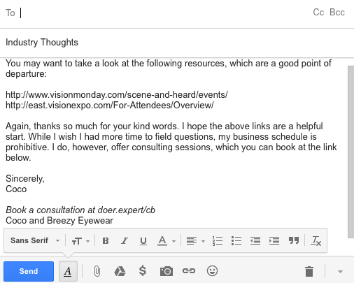Add your Doer link to an email.