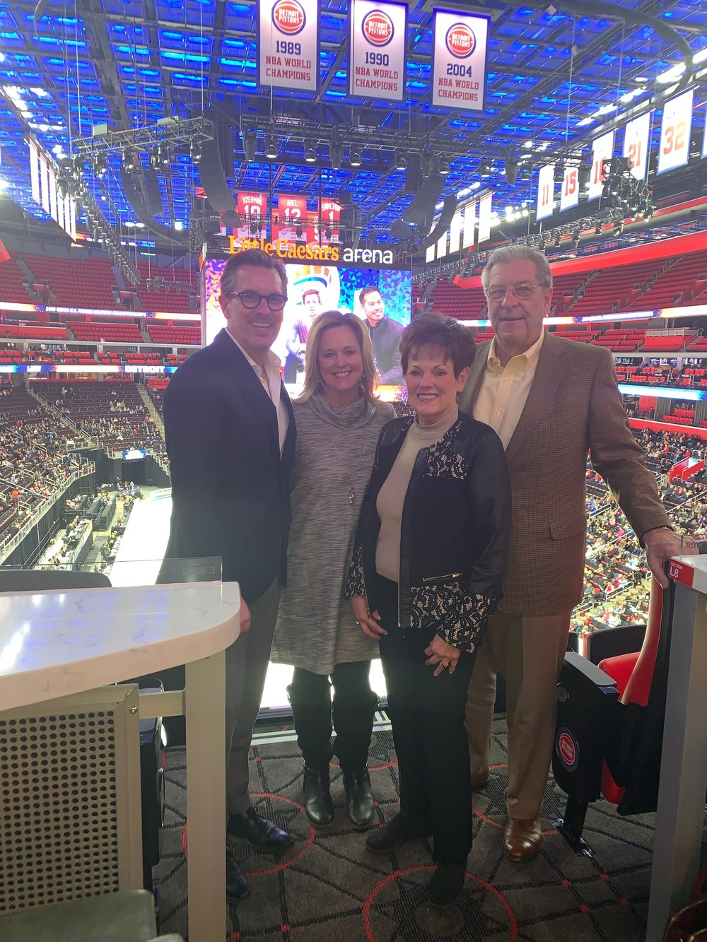 Marc Lagrois, Michelle Lagrois Carey, Glenda Lagrois and Bill Frohreip at Little Caesar's Arena