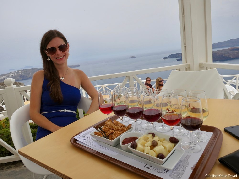 Wine tasting at Santo Winery in Santorini, Greece
