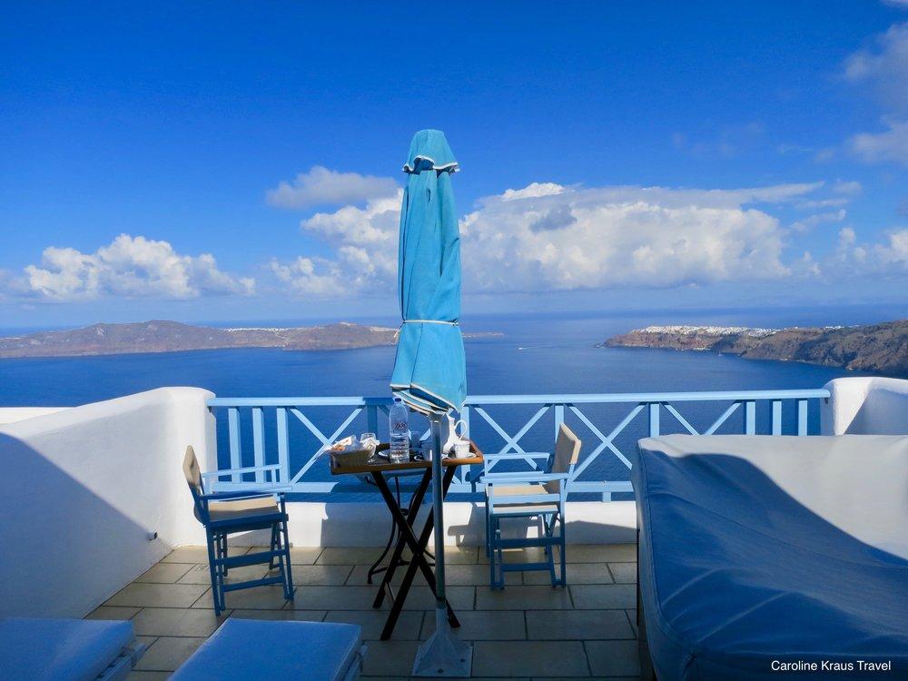 Balcony of our hotel in Imerovigli, Santorini, Greece