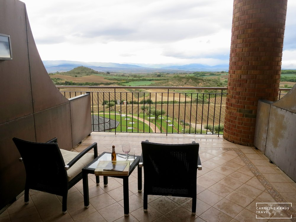 Balcony of room in Rioja wine region in Spain