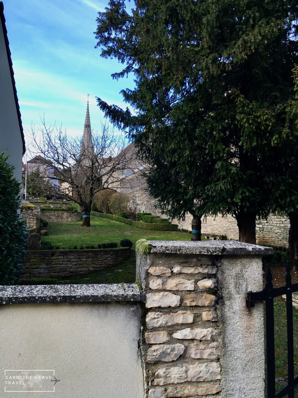 View for the church in Meursault from our yard