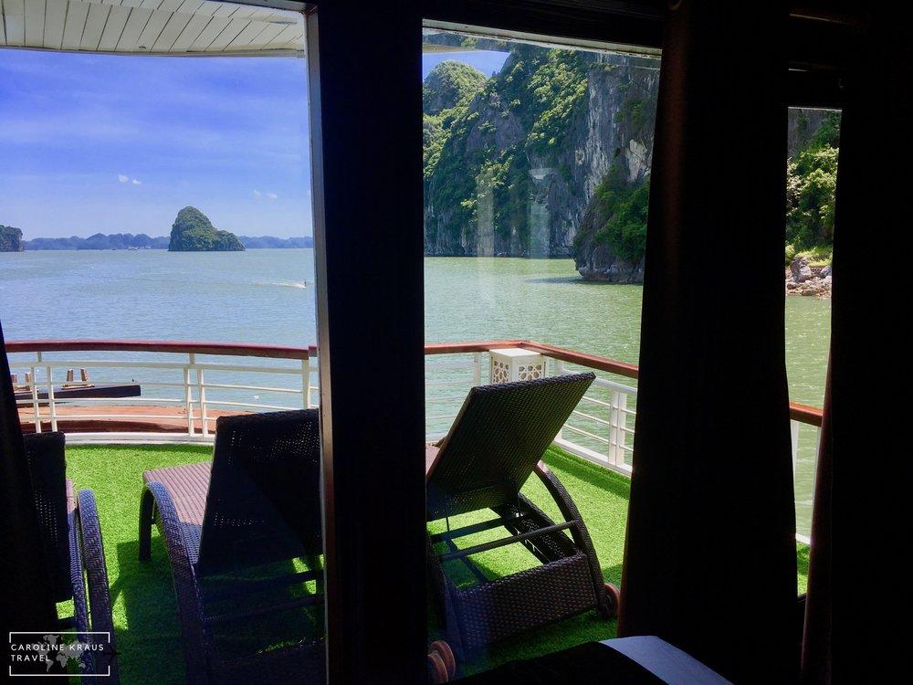 Our balcony room on Paloma Cruises