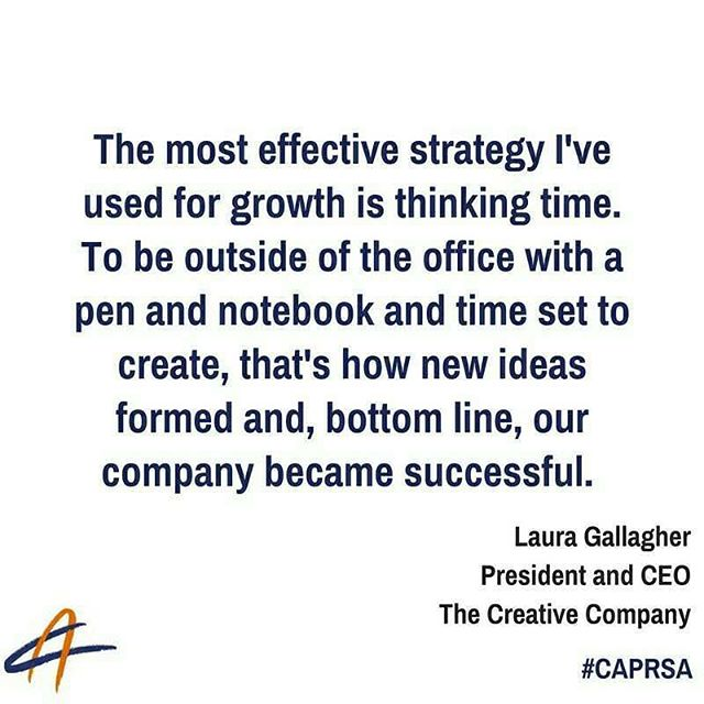 Thank you for the mention @TCClaura! It's a pleasure to have you a part of the Counselor's Academy community.  Gallagher is the President and CEO of The Creative Company and a proud #PRSA and #CAPRSA member. If you're interested in listening to the full podcast, we have provided the link below: http://buff.ly/2aYqd1t #prleader #growth #profitability #creativity #CEOtip #CAPRSA