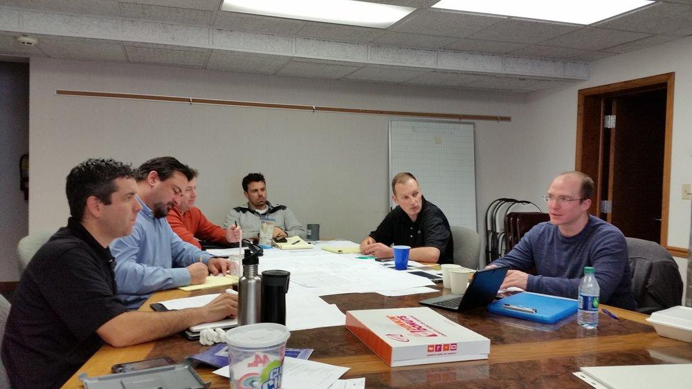 From left to right: Justin Wisniewski, Byron Garman, Scott Dillow, Patrick Clark, Dj Risk, Brian Staffa