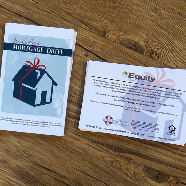 It's the most wonderful time of the year and you can give in many ways. Refer your homebuyer friends to @equity_prime between now & Jan. 31st and $100 will go to @davidsdreamandbelieve at closing! #give #giving #holidaymortgagedrive #equityprimemortgage #ddbcf #davidsdreamandbelieve #abeaconofhope #hope #follow #postcards #design #graphicdesign #swinggraphics #swinggraphicslbi #swinggraphicsnj