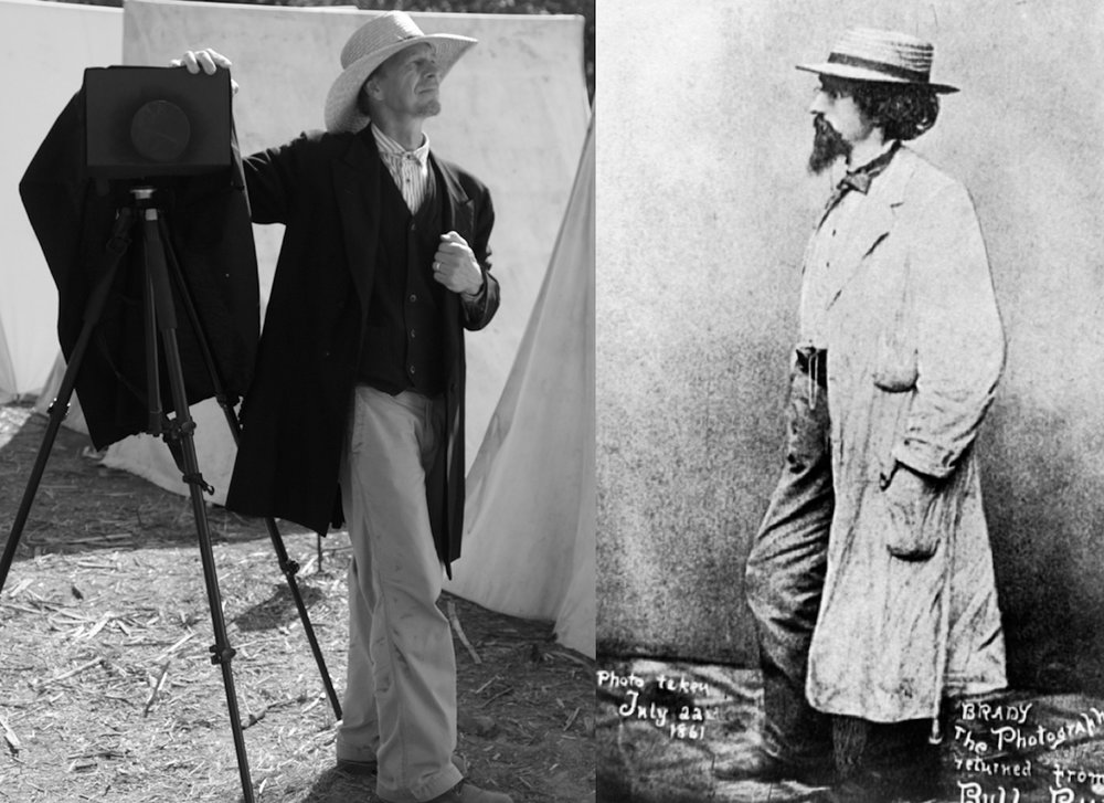 At left, in the photo above, I am wearing a questionably appropriate, 1860's period outfit, while documenting the 150th anniversary Civil War reenactment of the Battle of Wilson's Creek near Springfield, MO. Next to me is my equally questionable fake large format camera. At right is Civil War photographer Matthew Brady, as photographed July 22, 1861 after attending the battle of Bull Run .
