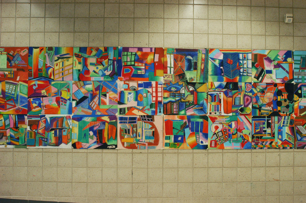 Mashed up perspective drawings in oil pastel.