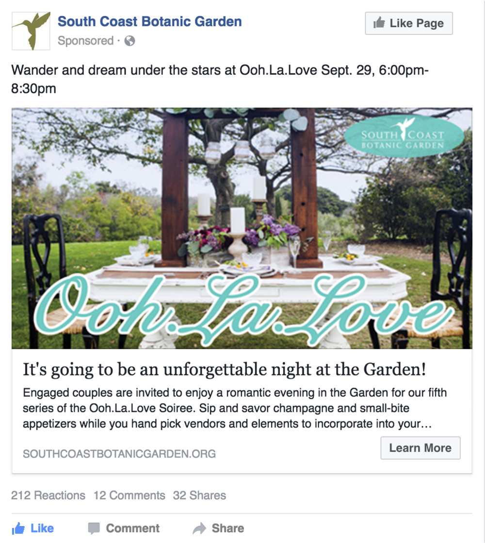 Facebook Advertising for 1 night event at South Coast Botanic Garden
