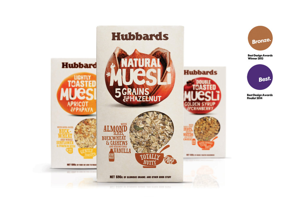 The new Hubbards logo evolved to a minimal, handcrafted font to recapture the down to earth essence of the brand, at the same time ensuring ease of application across all forms of brand communication and packaging.     To launch the new look brand, Hubbards developed a range of newly formulated mueslis aimed at the modern Kiwi consumer, presented in an unconventional packaging format. These smaller pack formats were created to be truly disruptive on shelf. The non standard card substrate added artisanal texture; bold earthy colours, quirky typography and macro ingredient photography created a new language to define the brand on shelf, going on to redefine and drive a change in business culture throughout the company.     Coats subsequently worked with Hubbards to rationalise their product portfolio, redesigning and repositioning the packaging with the new Hubbards brand ethos and bold, challenger look.