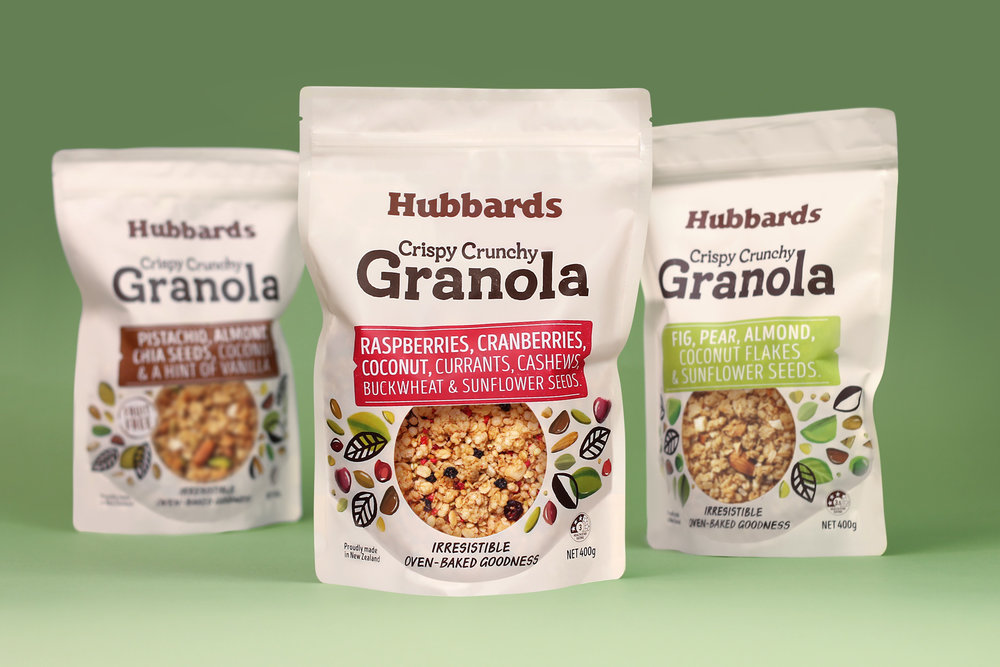Background    A relative newcomer to New Zealand, granola's indulgent flavours, ingredients and crunchy textures are a different proposition to mueslis and cereals.Existing options were premium, high priced, café style offerings. This created an opportunity for Hubbards to leverage their position within the cereal aisle and develop a premium mainstream range of granolas in line with the rest of their core products.