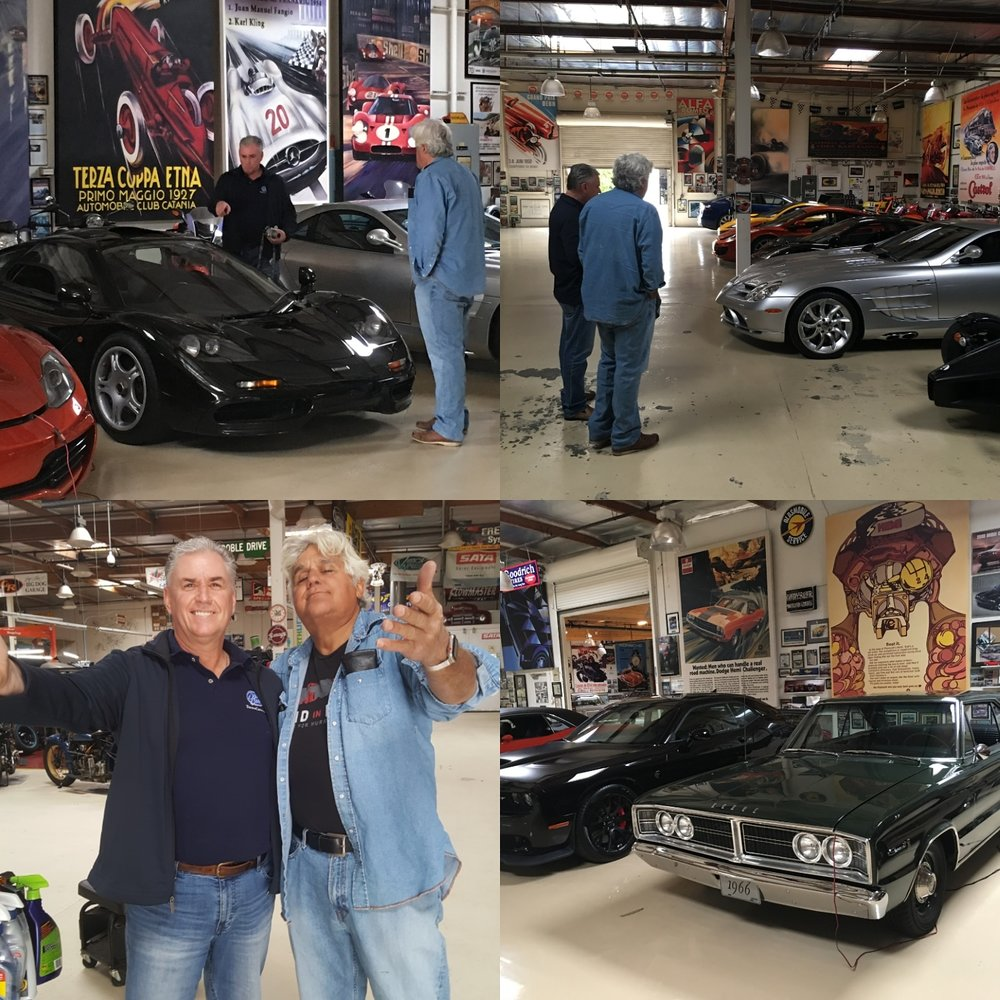 """Wendy and I would like to thank Jay Leno and the guys at the Big Dog Garage for their generous hospitality while we were in SoCAL recently. Jay and I had met while he was in town a few years back to do a cameo for a movie. He and I had been chatting about a Chrylser I had on consignment and wanted to come by and check the car out while he was in town. Fast forward to 2018 - I had emailed Jay about coming by to see the garage and to our surprise (not really, he's such a down to earth guy) he was available and welcomed us to come by the shop. I can't think of anyone that has done more to promote and create awareness for the classic car / motorcycle hobby than the """"Big Dog"""" himself - thanks again Jay!"""