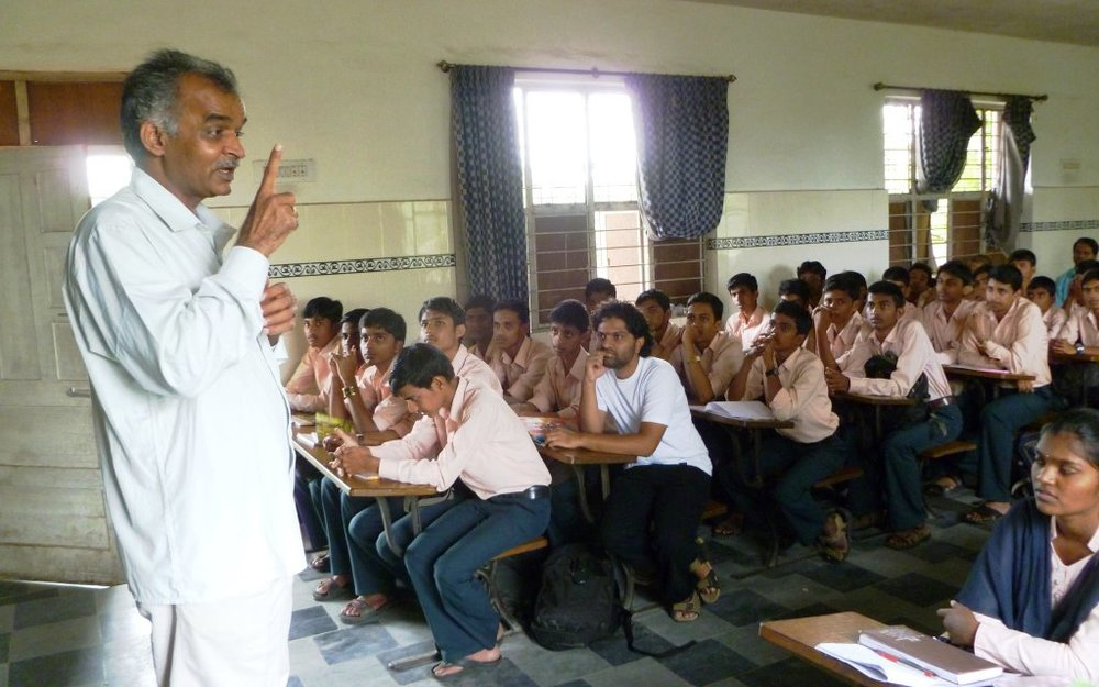 Ranganathaiah during one of his interactions with students at DVS Composite Junior College, Shivamogga in 2011