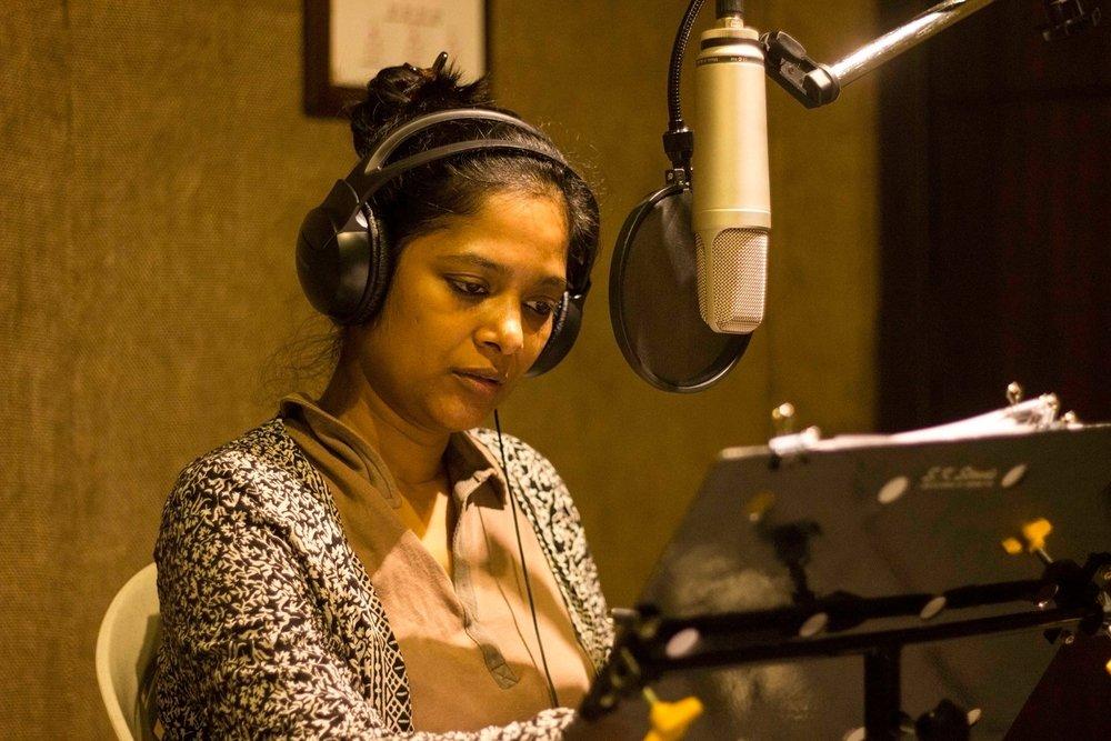 MD Pallavi recording for Madhuravachaka at Ananya studio, Malleshwara, Bengaluru in 2016